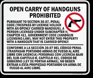 30.07 - Sign - Texas Open Carry Gun Laws