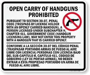 30.07 - Sign - Texas Open Carry Gun Laws